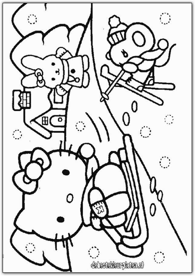 Kleurplaten Kerstmis Hello Kitty.Kleurplaten Kitty Kerst