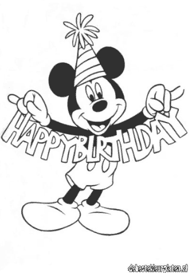 Mickeymouse29 de beste kleurplaten for Happy birthday mickey mouse coloring pages